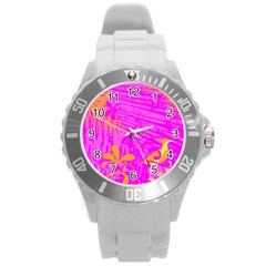 Spring Tropical Floral Palm Bird Round Plastic Sport Watch (l) by Simbadda