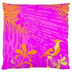 Spring Tropical Floral Palm Bird Large Cushion Case (two Sides) by Simbadda