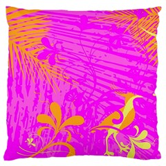 Spring Tropical Floral Palm Bird Large Flano Cushion Case (two Sides) by Simbadda