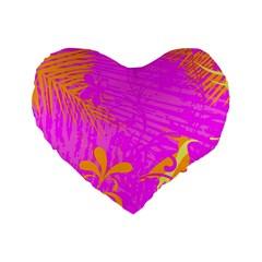 Spring Tropical Floral Palm Bird Standard 16  Premium Flano Heart Shape Cushions by Simbadda