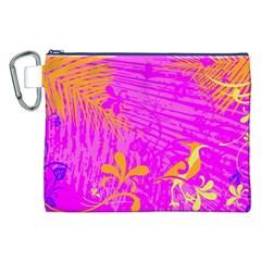 Spring Tropical Floral Palm Bird Canvas Cosmetic Bag (xxl) by Simbadda