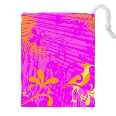 Spring Tropical Floral Palm Bird Drawstring Pouches (xxl) by Simbadda