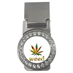 Marijuana Leaf Bright Graphic Money Clips (cz)  by Simbadda
