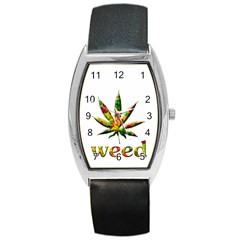 Marijuana Leaf Bright Graphic Barrel Style Metal Watch by Simbadda
