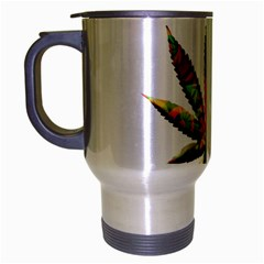 Marijuana Leaf Bright Graphic Travel Mug (silver Gray) by Simbadda