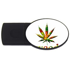 Marijuana Leaf Bright Graphic Usb Flash Drive Oval (4 Gb) by Simbadda