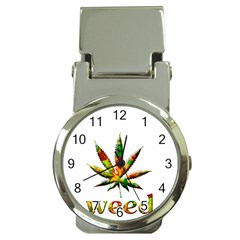 Marijuana Leaf Bright Graphic Money Clip Watches by Simbadda