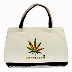 Marijuana Leaf Bright Graphic Basic Tote Bag by Simbadda