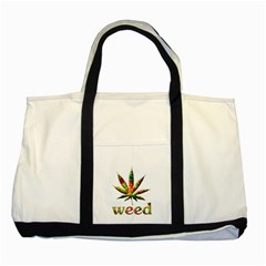 Marijuana Leaf Bright Graphic Two Tone Tote Bag by Simbadda