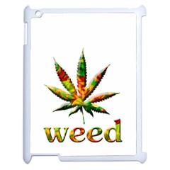 Marijuana Leaf Bright Graphic Apple Ipad 2 Case (white) by Simbadda