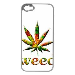 Marijuana Leaf Bright Graphic Apple Iphone 5 Case (silver) by Simbadda
