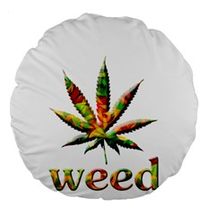Marijuana Leaf Bright Graphic Large 18  Premium Round Cushions by Simbadda