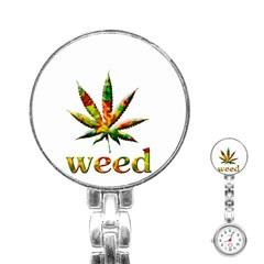 Marijuana Leaf Bright Graphic Stainless Steel Nurses Watch by Simbadda