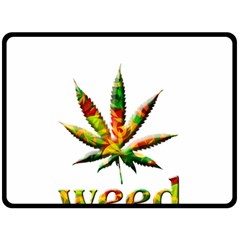 Marijuana Leaf Bright Graphic Double Sided Fleece Blanket (large)  by Simbadda