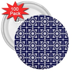 Leaves Horizontal Grey Urban 3  Buttons (100 Pack)