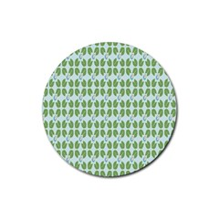 Leaf Flower Floral Green Rubber Coaster (round)  by Alisyart