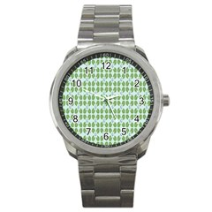 Leaf Flower Floral Green Sport Metal Watch by Alisyart