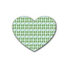 Leaf Flower Floral Green Heart Coaster (4 Pack)  by Alisyart