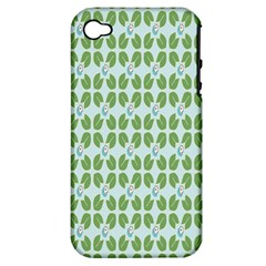 Leaf Flower Floral Green Apple Iphone 4/4s Hardshell Case (pc+silicone) by Alisyart