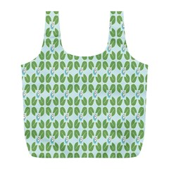 Leaf Flower Floral Green Full Print Recycle Bags (l)  by Alisyart