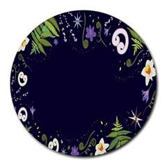 Spring Wind Flower Floral Leaf Star Purple Green Frame Round Mousepads by Alisyart