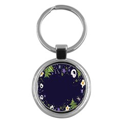 Spring Wind Flower Floral Leaf Star Purple Green Frame Key Chains (round)  by Alisyart