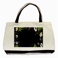 Spring Wind Flower Floral Leaf Star Purple Green Frame Basic Tote Bag by Alisyart