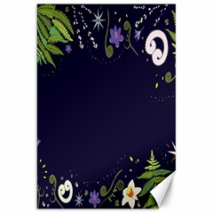 Spring Wind Flower Floral Leaf Star Purple Green Frame Canvas 20  X 30   by Alisyart