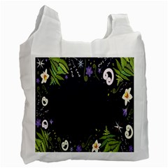 Spring Wind Flower Floral Leaf Star Purple Green Frame Recycle Bag (one Side) by Alisyart