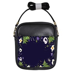 Spring Wind Flower Floral Leaf Star Purple Green Frame Girls Sling Bags by Alisyart