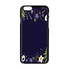 Spring Wind Flower Floral Leaf Star Purple Green Frame Apple Iphone 6/6s Black Enamel Case by Alisyart