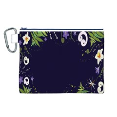 Spring Wind Flower Floral Leaf Star Purple Green Frame Canvas Cosmetic Bag (l) by Alisyart