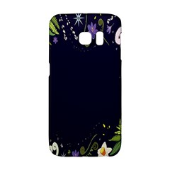 Spring Wind Flower Floral Leaf Star Purple Green Frame Galaxy S6 Edge by Alisyart