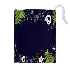 Spring Wind Flower Floral Leaf Star Purple Green Frame Drawstring Pouches (extra Large) by Alisyart