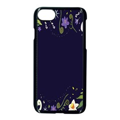 Spring Wind Flower Floral Leaf Star Purple Green Frame Apple Iphone 7 Seamless Case (black) by Alisyart