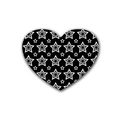 Star Black White Line Space Rubber Coaster (heart)  by Alisyart