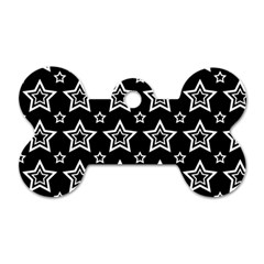 Star Black White Line Space Dog Tag Bone (two Sides) by Alisyart