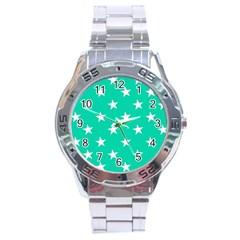 Star Pattern Paper Green Stainless Steel Analogue Watch by Alisyart