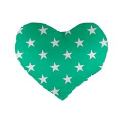 Star Pattern Paper Green Standard 16  Premium Heart Shape Cushions by Alisyart