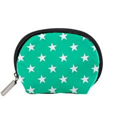 Star Pattern Paper Green Accessory Pouches (small)  by Alisyart