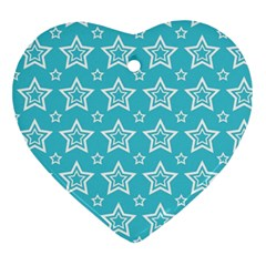 Star Blue White Line Space Sky Ornament (heart) by Alisyart