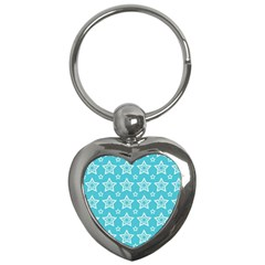 Star Blue White Line Space Sky Key Chains (heart)  by Alisyart