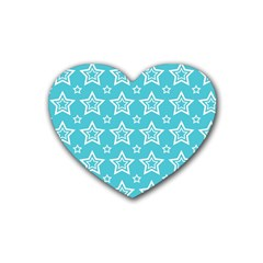 Star Blue White Line Space Sky Rubber Coaster (heart)  by Alisyart