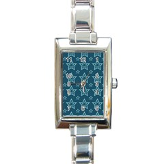 Star Blue White Line Space Rectangle Italian Charm Watch by Alisyart