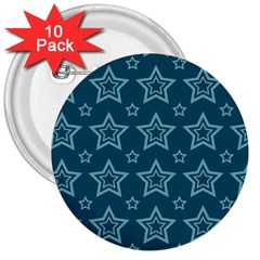 Star Blue White Line Space 3  Buttons (10 Pack)  by Alisyart