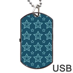 Star Blue White Line Space Dog Tag Usb Flash (one Side) by Alisyart