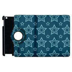 Star Blue White Line Space Apple Ipad 2 Flip 360 Case by Alisyart