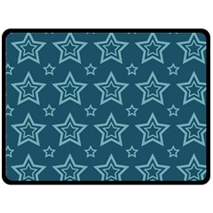 Star Blue White Line Space Double Sided Fleece Blanket (large)  by Alisyart