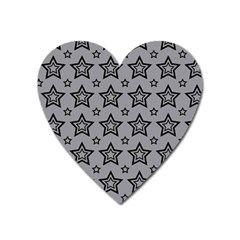 Star Grey Black Line Space Heart Magnet by Alisyart