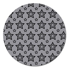 Star Grey Black Line Space Magnet 5  (Round) by Alisyart